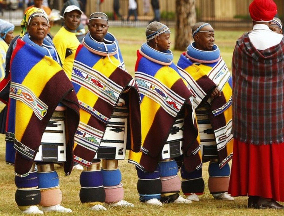 Ndebele women in traditional apparel