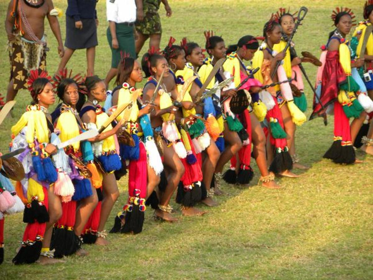 Swazi Youth/Teens and young adults, lining up for the Reed Dance