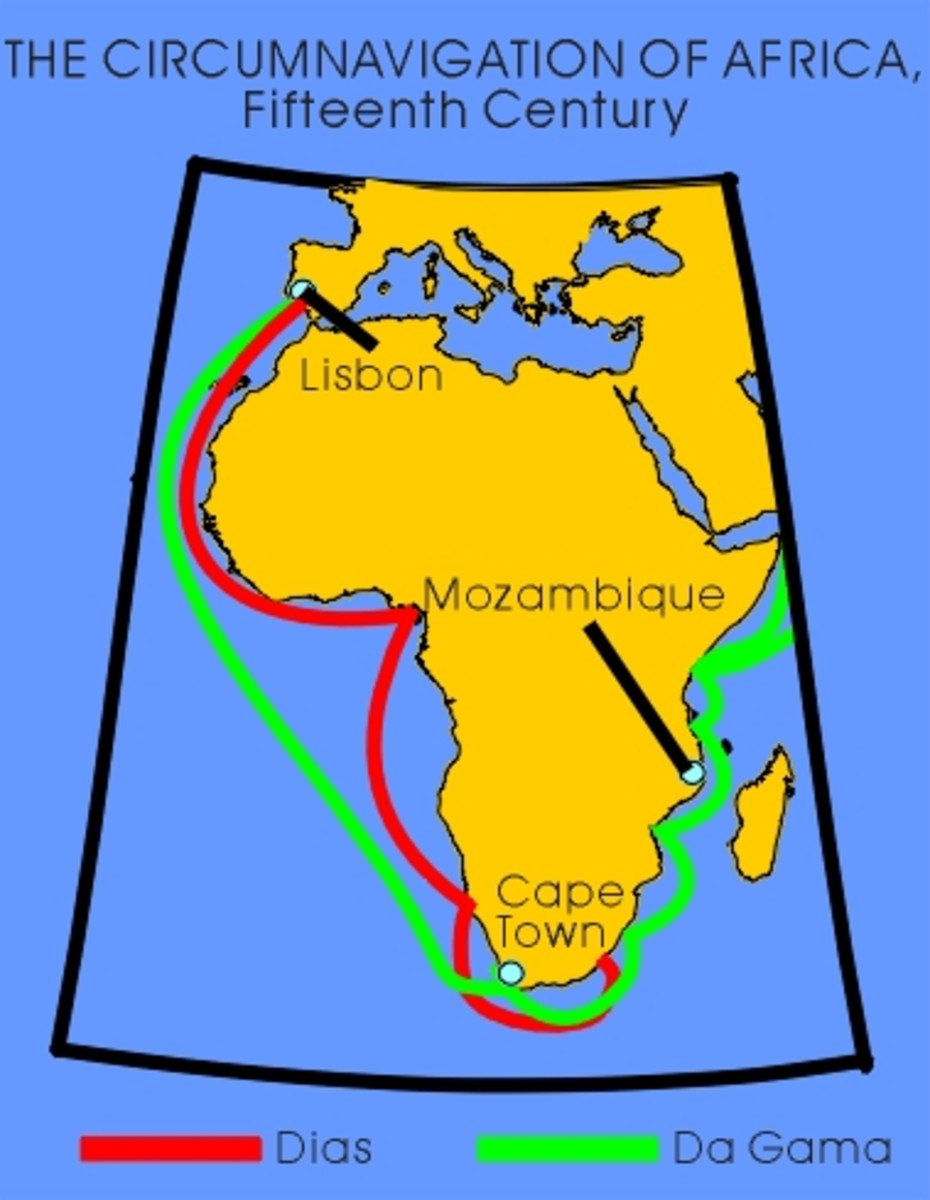 The Routes taken by Bartholomew Diaz and Vasco da Gama in the 15th Century A.D.