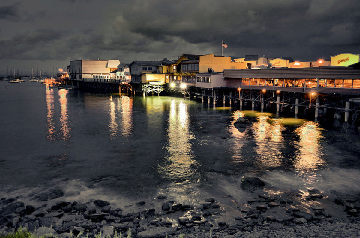 Fisherman's Wharf at night.