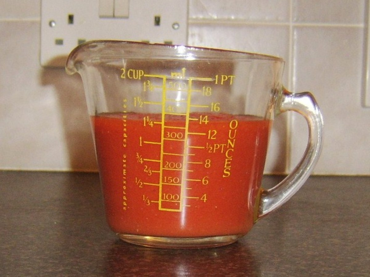 Spicy pasta sauce made from plum tomatoes, Tabasco sauce and Worcester sauce