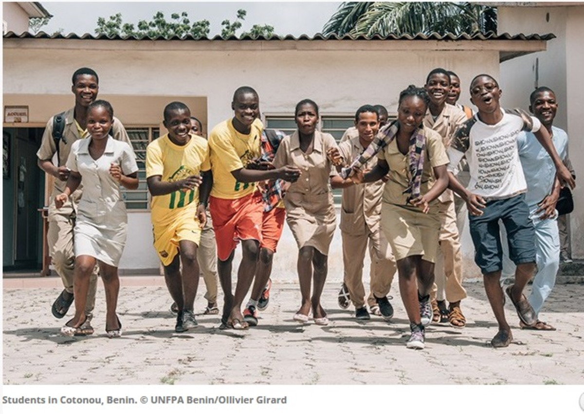 Students in Cotonou, Benin. The students received educational empowerment.