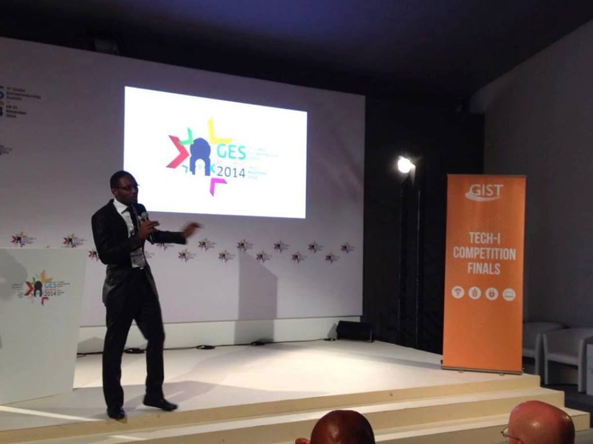 Igili Onyedika presenting his project in Morocco. He was shortlisted as one of the finalists in the competition held by Tech-I. He titled his own project Waste to Point. The young Nigerian was empowered by the company and he empowers others.