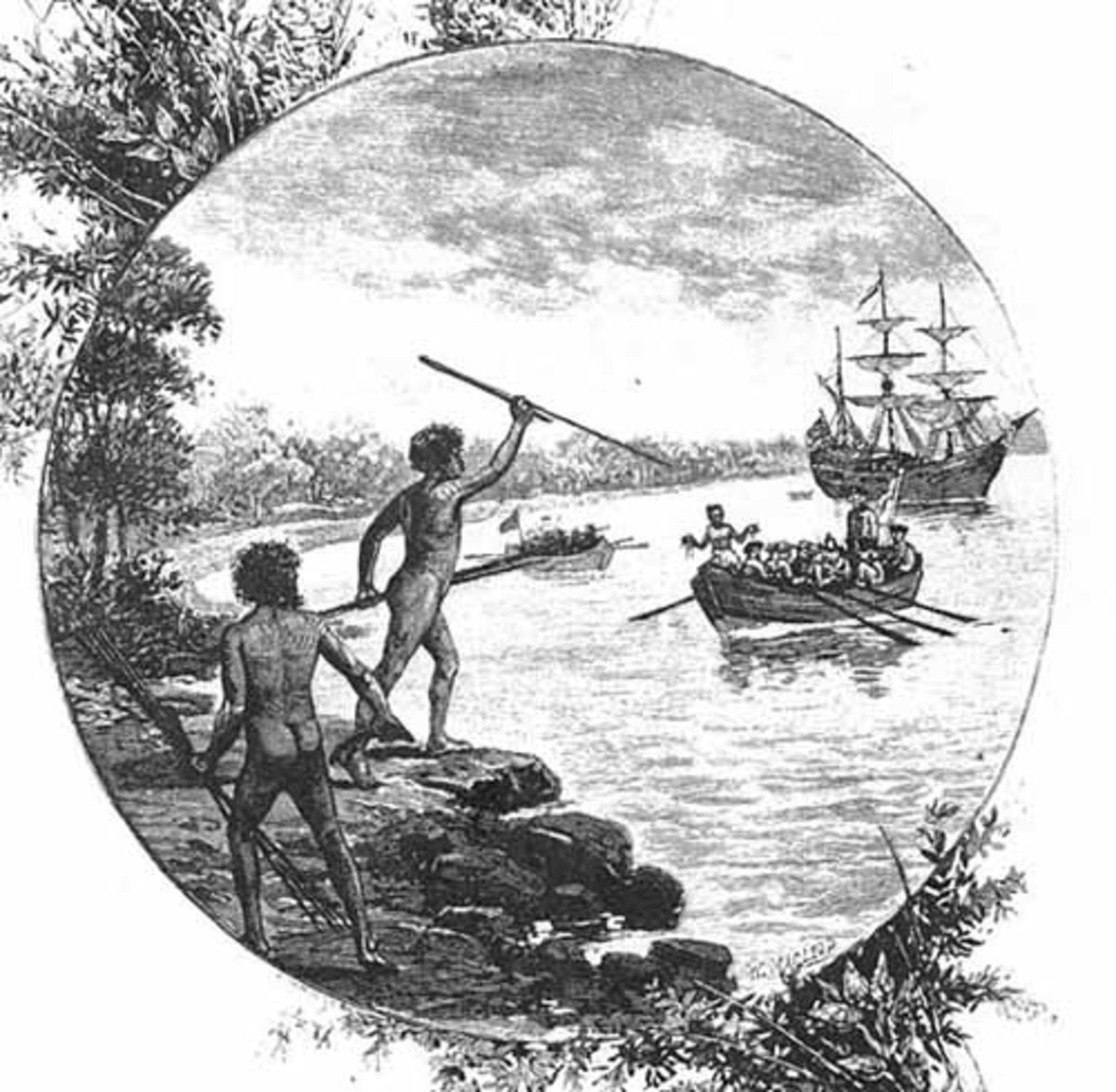 Aboriginals Watch The First Fleet arrive