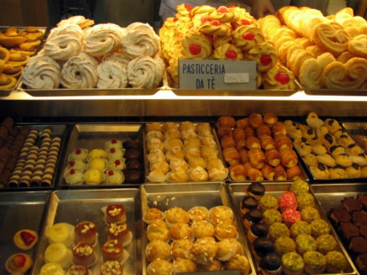 An enticing display of luscious pasties and cookies inside a typical bakery.