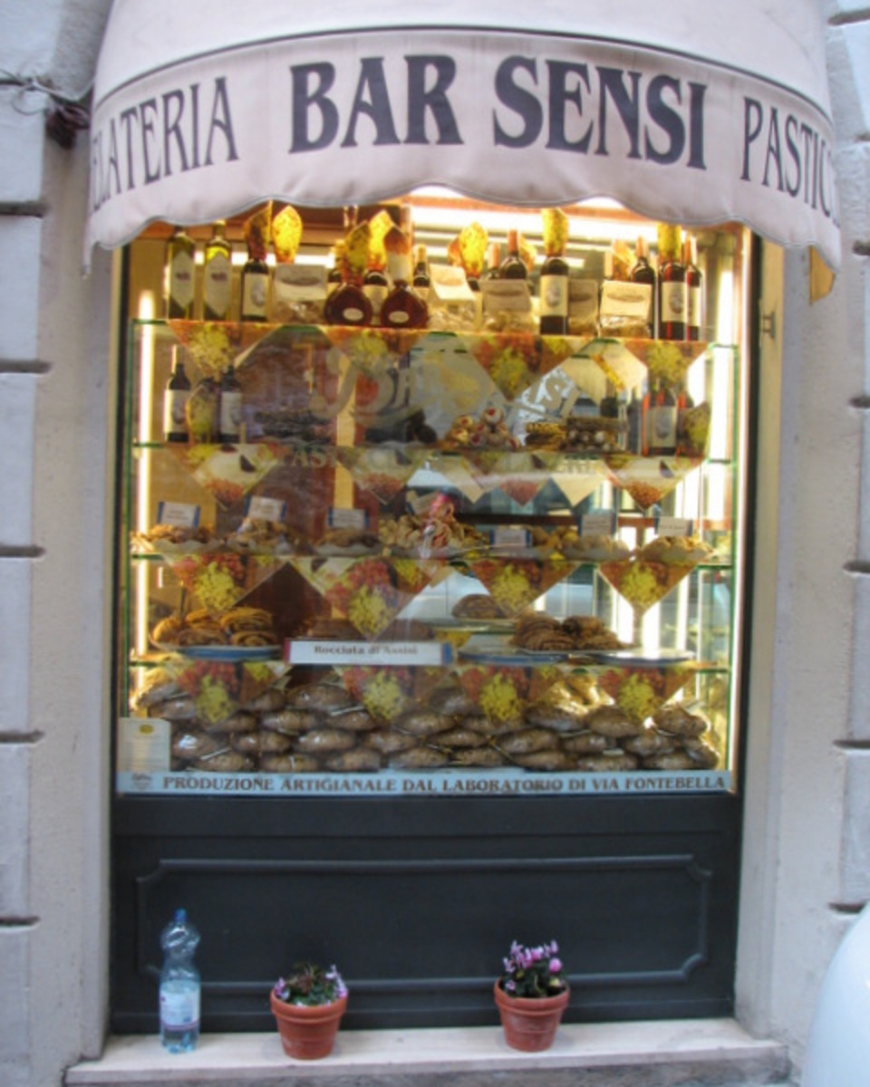 A coffee bar and pastry shop in business since 1969.  Its windows and displays entice wnderings into the shop to peer at the goodies.