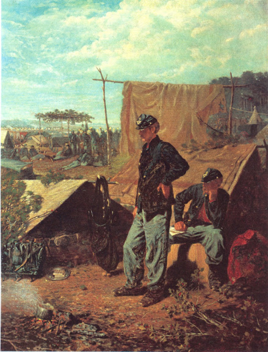 Painting of an encampment with Shelter Tents in the foreground