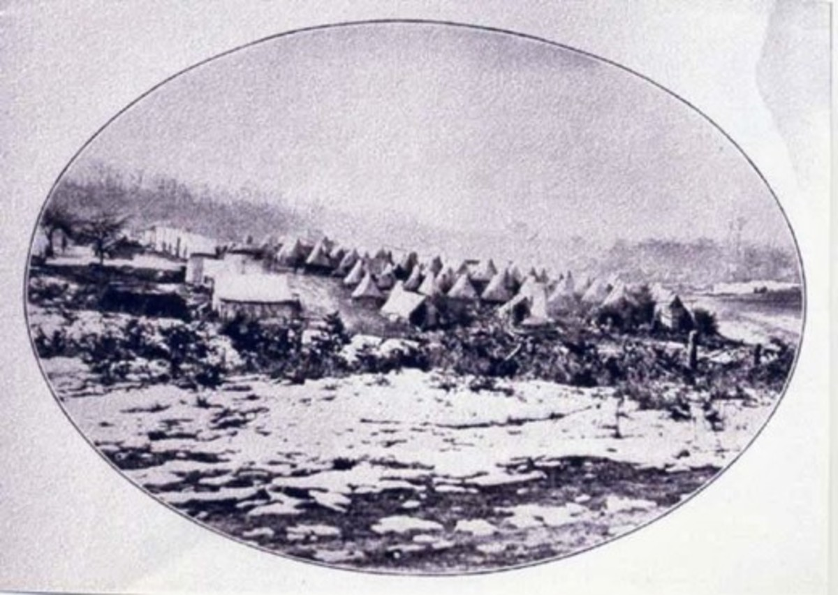 Sibley tents on a winter encampment