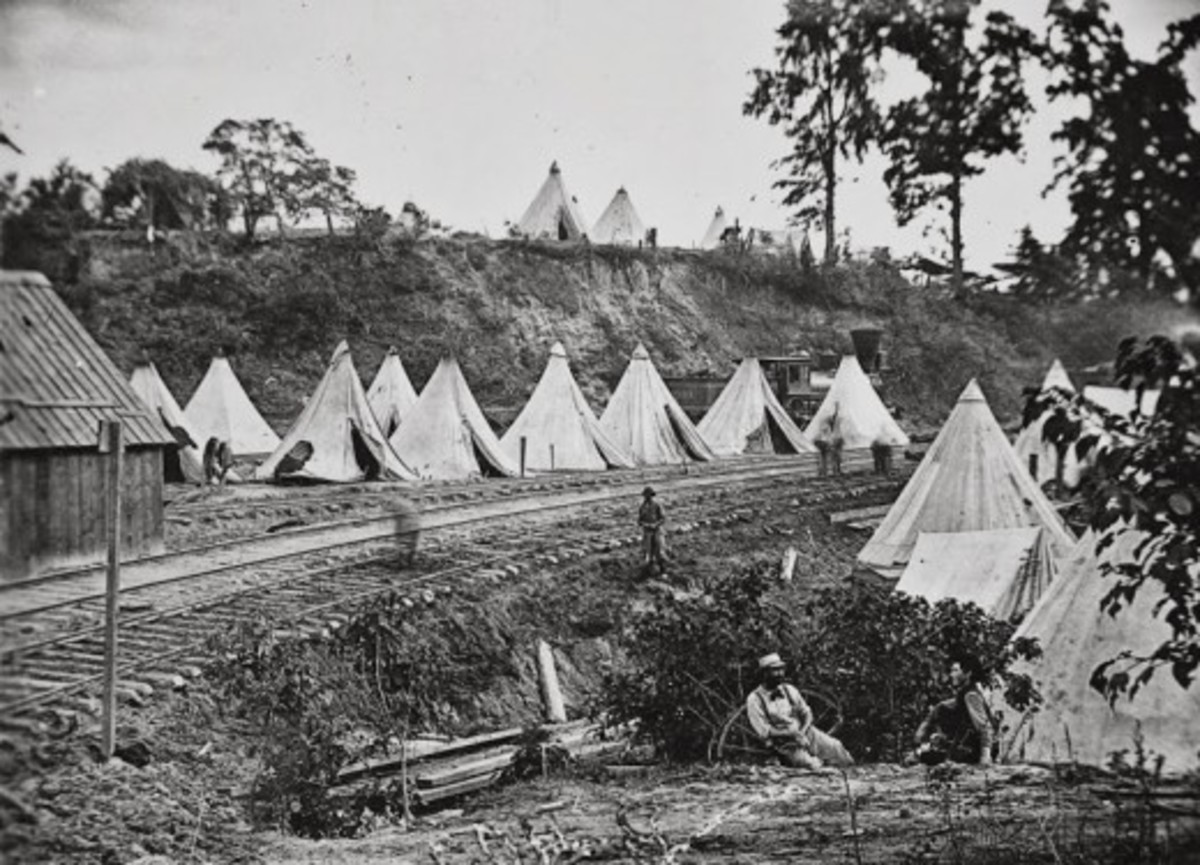 Sibley tents for a unit that guards a railroad station