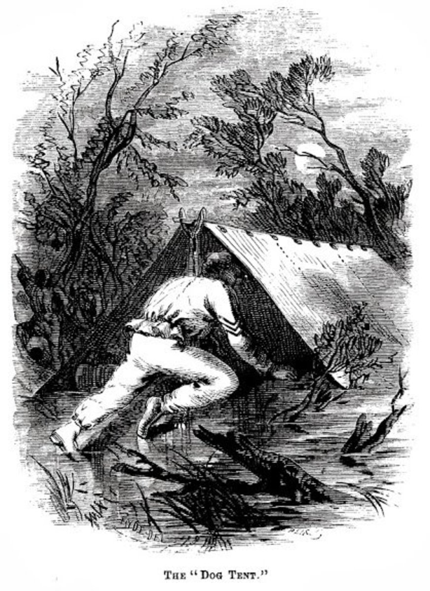 "An illustration of a man, about to enter a Shelter Tent, ""on all fours""."