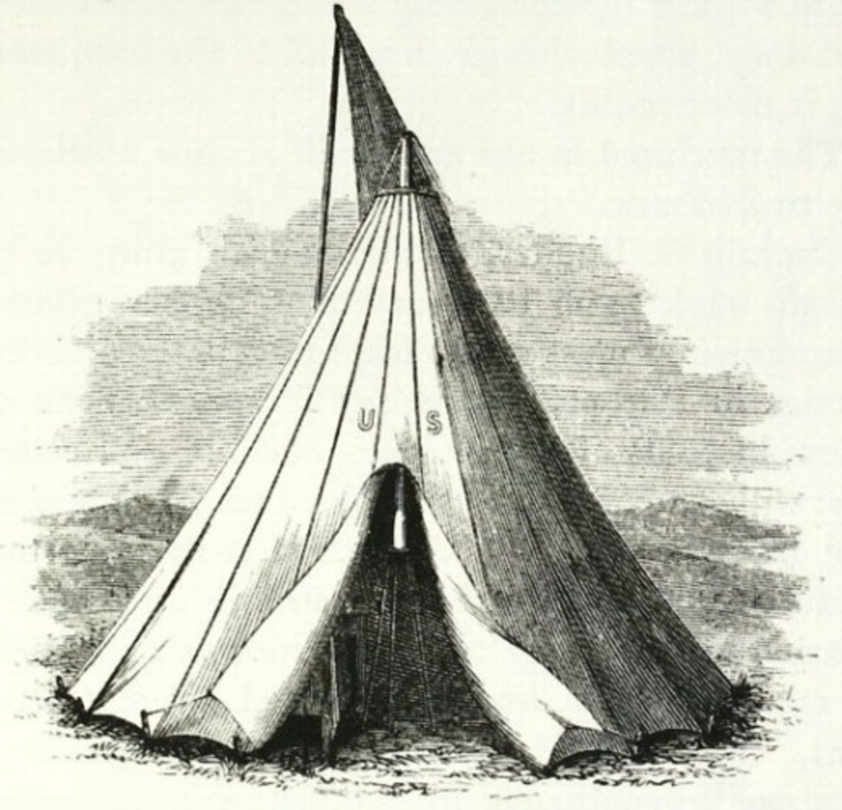 Illustration of a Sibley Tent. Note the top flap from which protrudes a stove pipe