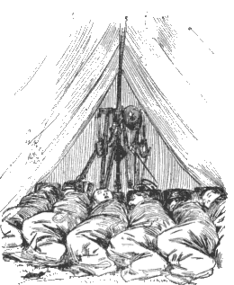 "Illustration of the interior of a Wedge Tent. Note the six occupants are ""spooned"" together."