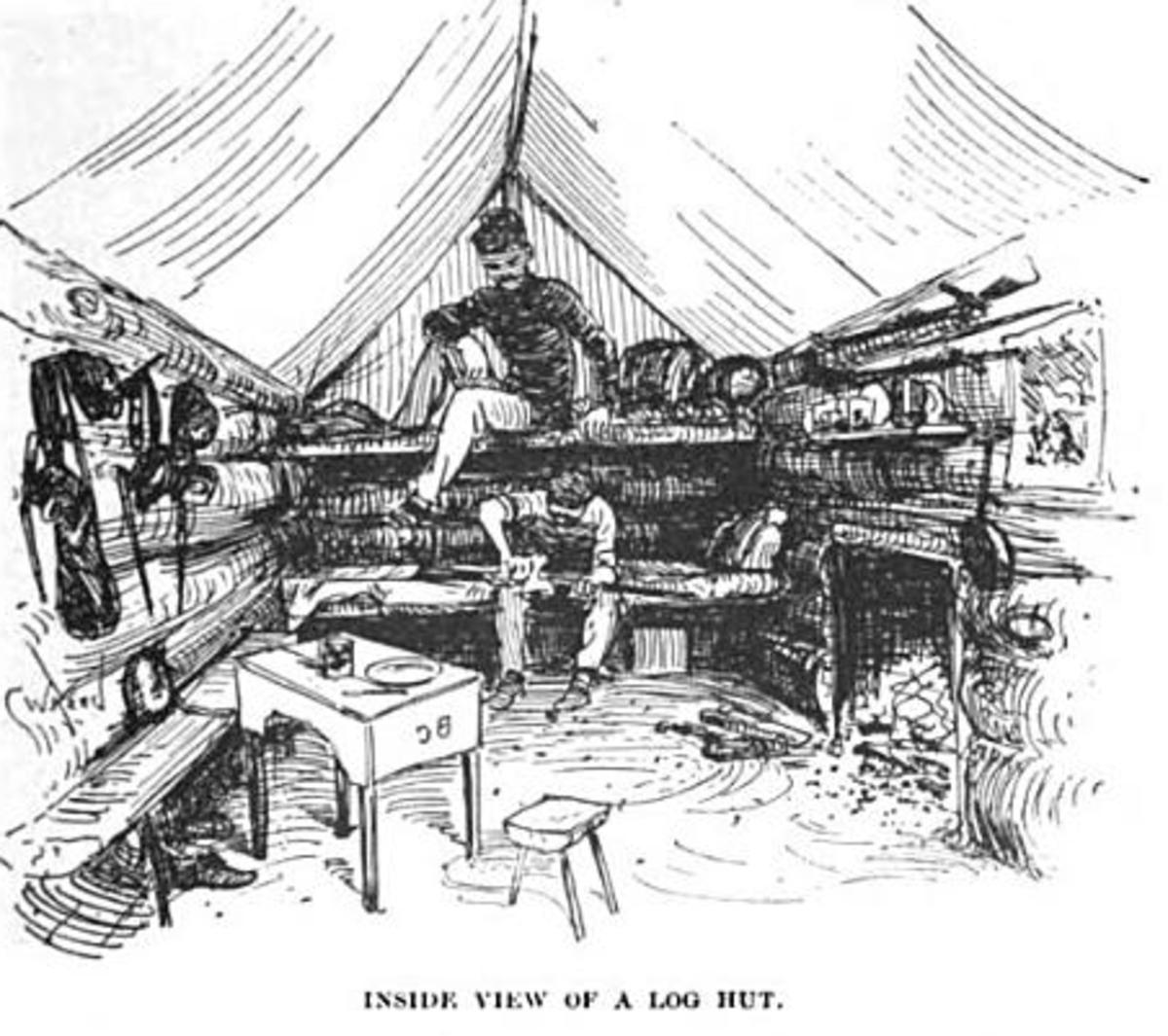 Illustration of an interior of a log hut