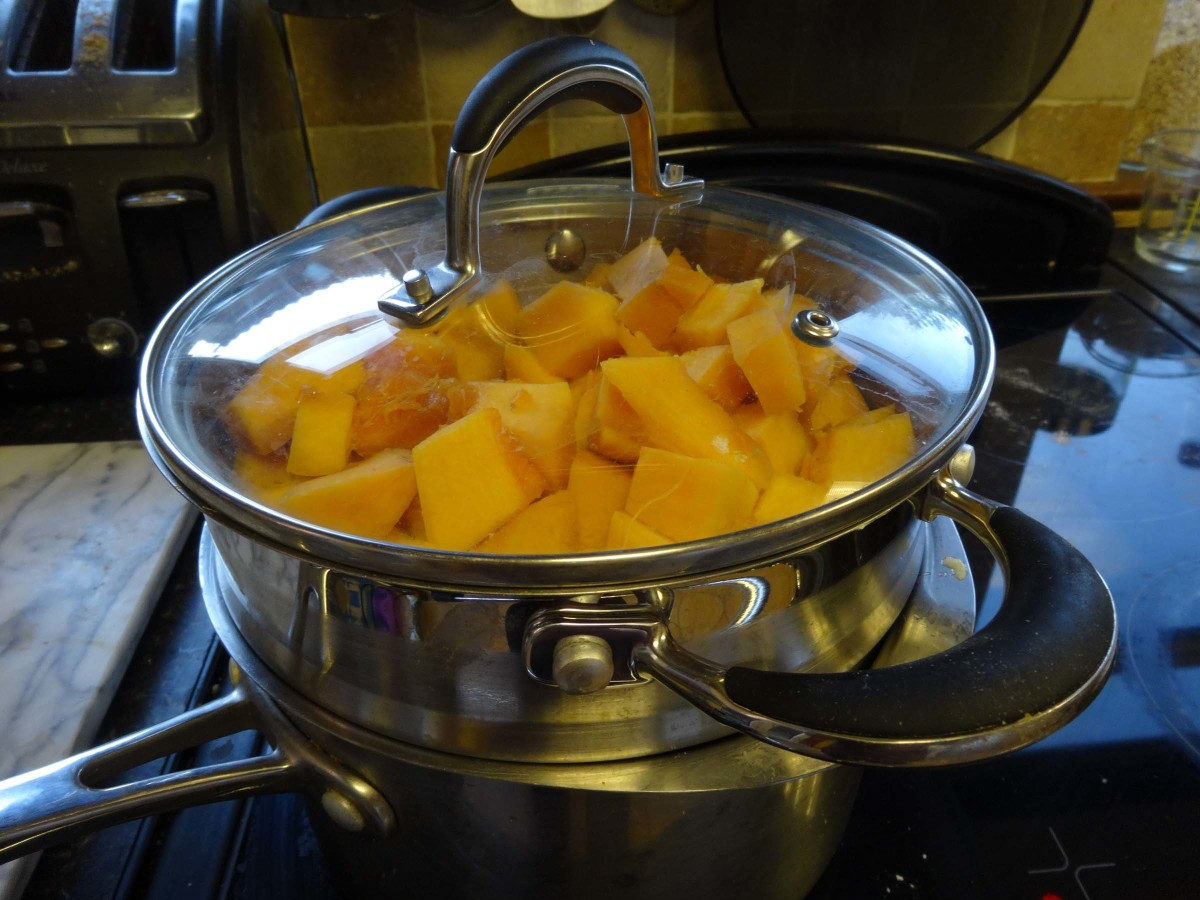 Simmering the pumpkin for 30 minutes