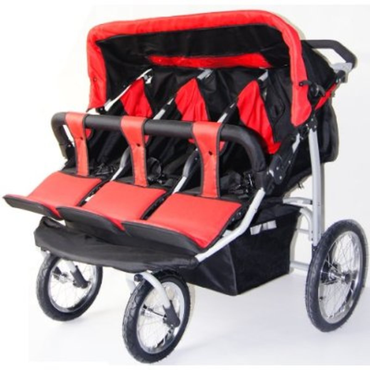 Red and Black Triple Trio Baby Jogger Stroller with Rain Canopy