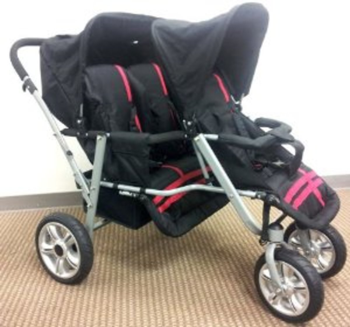 Red and Black Triple Trio Tandem Baby Jogger Stroller with Rain Canopy