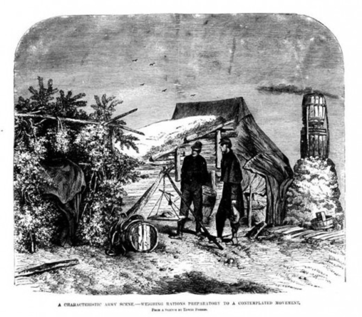 Commissary men weighing the ration allotments