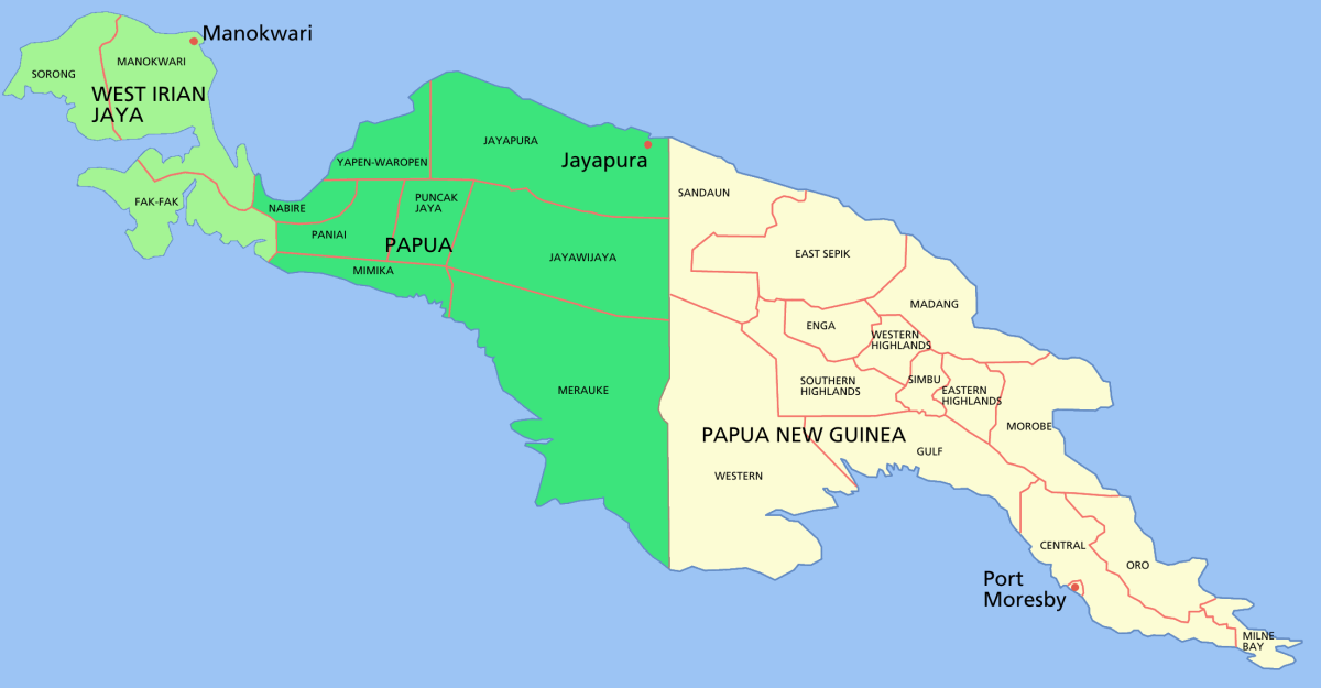 West Papua is the western half of the island of New Guinea and is situated just above Australia on the world map.