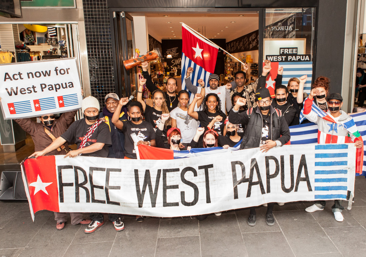 Join the global movement for West Papua. The photograph is of a protest in Melbourne, Australia, in August 2012.