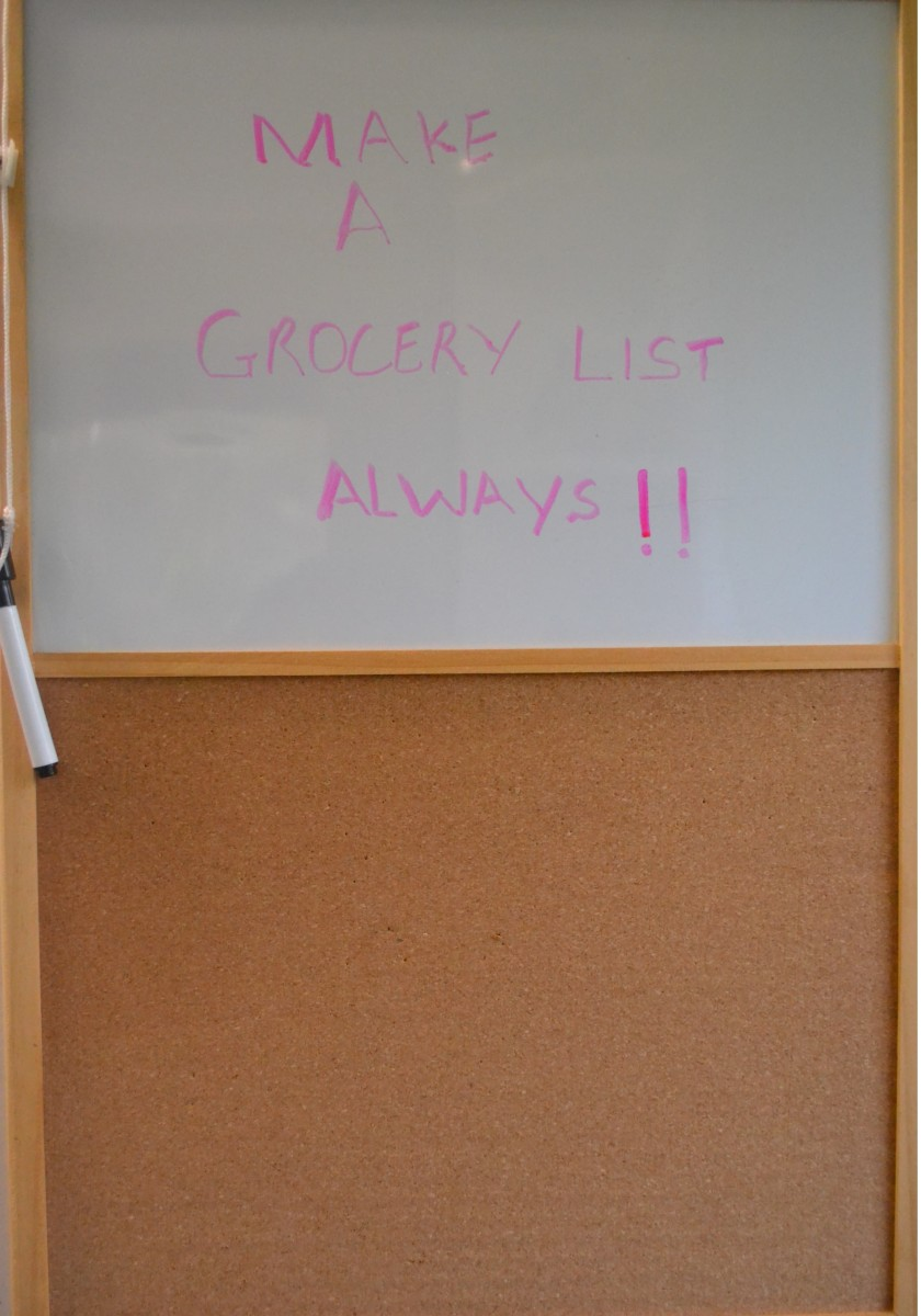 Buy only what you need by keeping tract on your stock and making a grocery list.