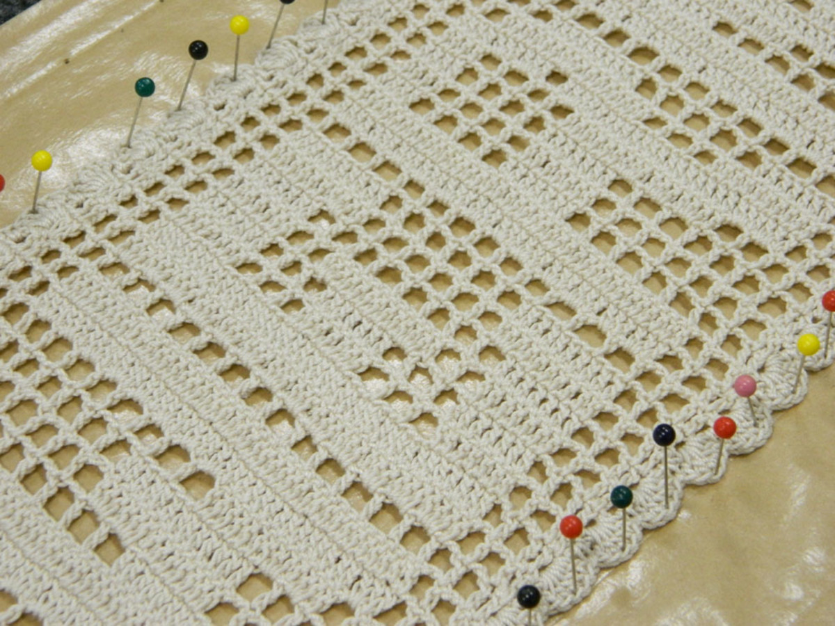 Photo Shows Pinning Of Crochet Name