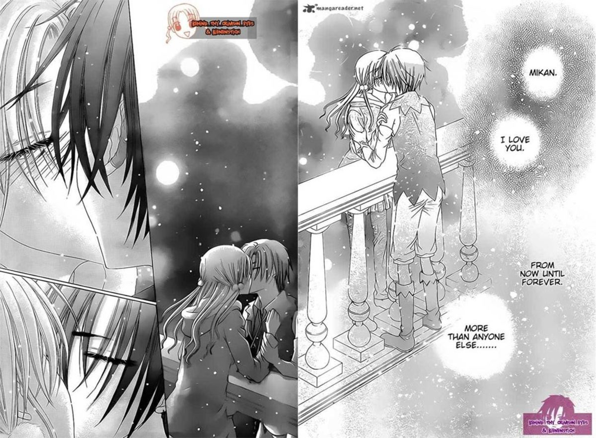 Chapter 114. Mikan and Natsume kiss in the balcony on Christmas night. Sealing their vows with the moon as their witness ♥