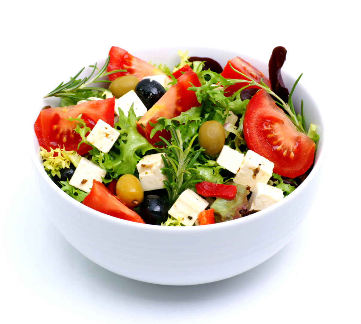 A feta cheese salad served in airlines