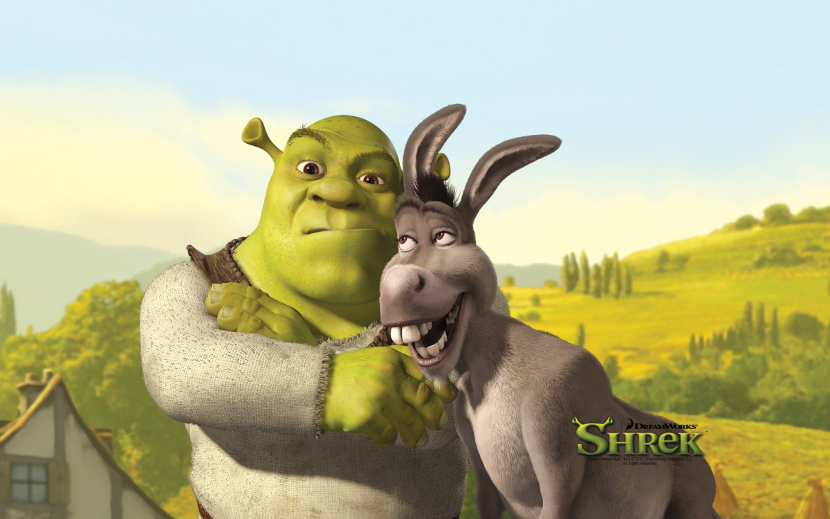 Shrek is the good-looking green ogre on the left.