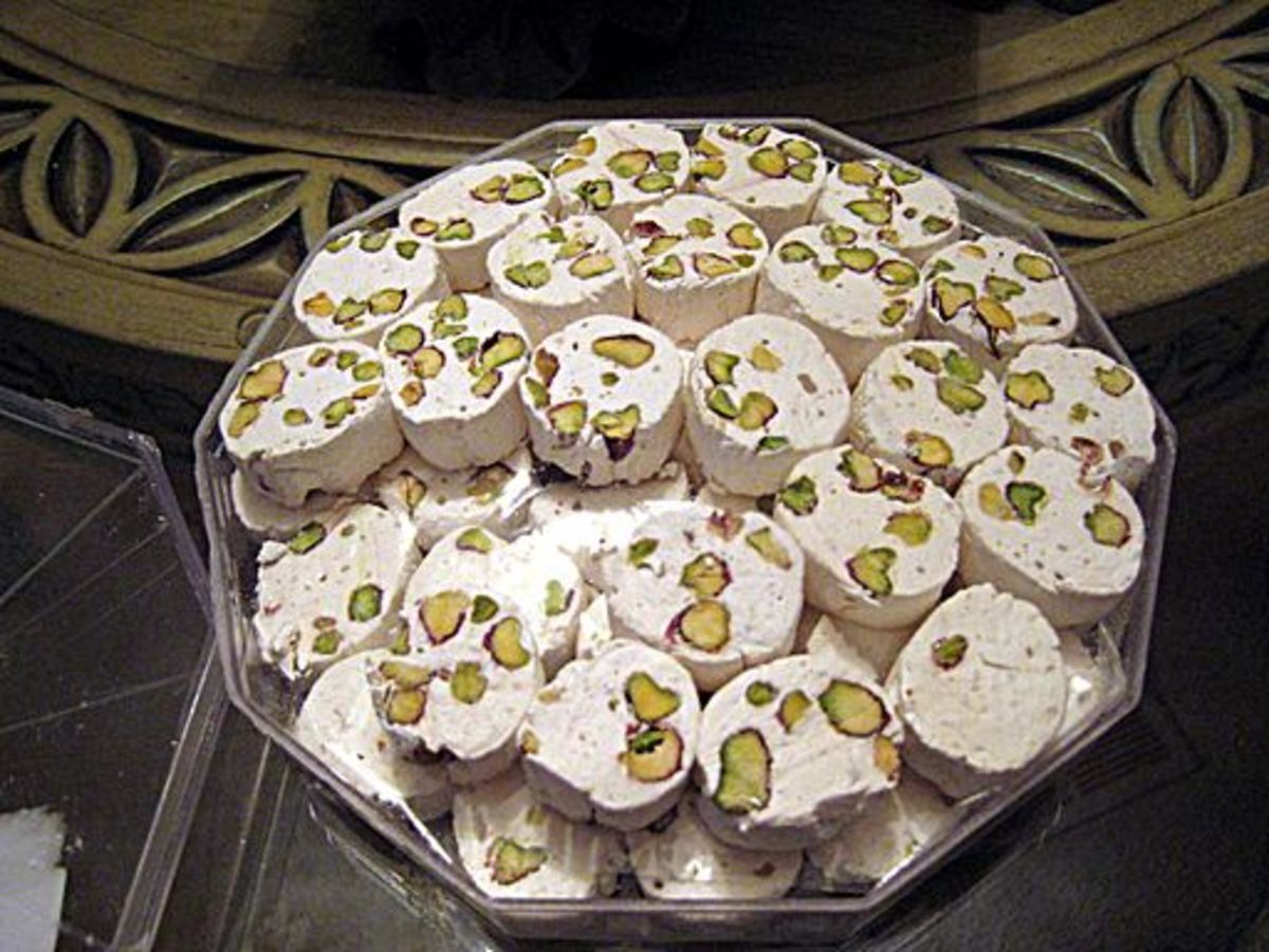 The Iranian nougat, gaz, is traditionally flavored with a sweetening agent produced from the anus of a small plant-feeding insect.