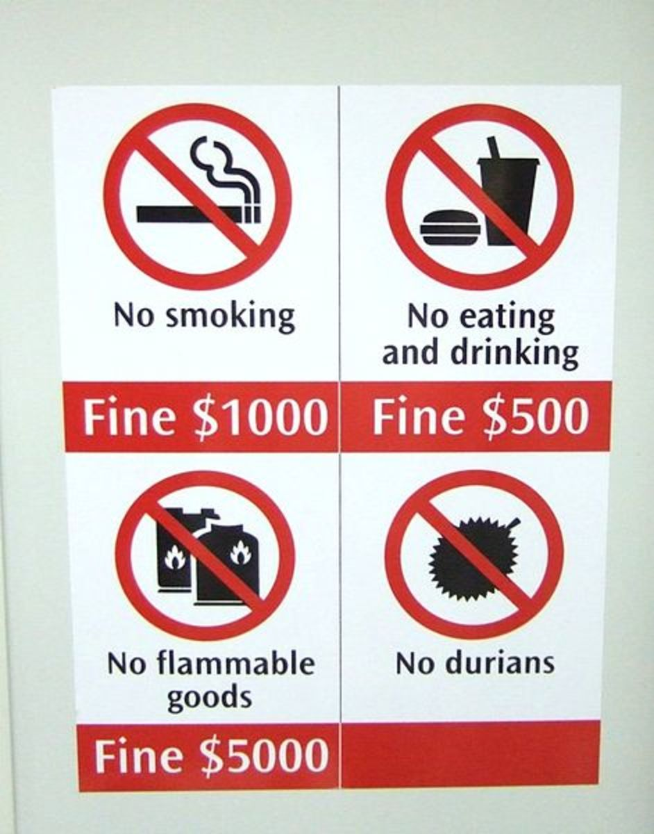 A sign prohibiting people from carrying durian.