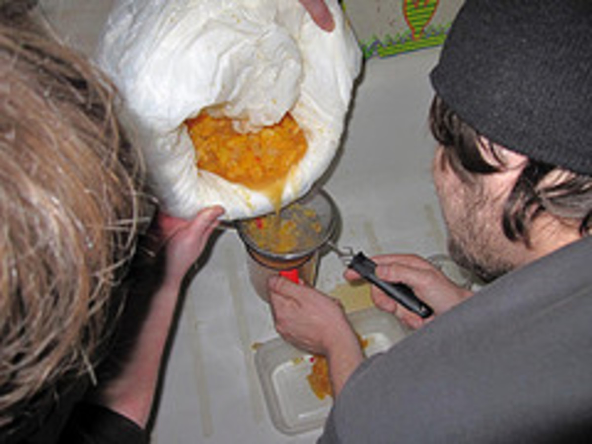 (Top) Making pruno the traditional way by first mashing up ingredients in a bag. (Bottom) Filtering the final concoction of all the rotting ingredients.