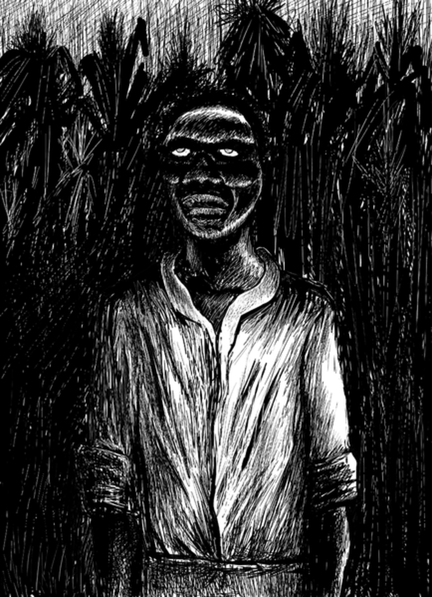 An artistic depiction of a Haitian zombie, which some believe are regular people drugged into a death-like state with a powder containing fugu's tetrodotoxin.