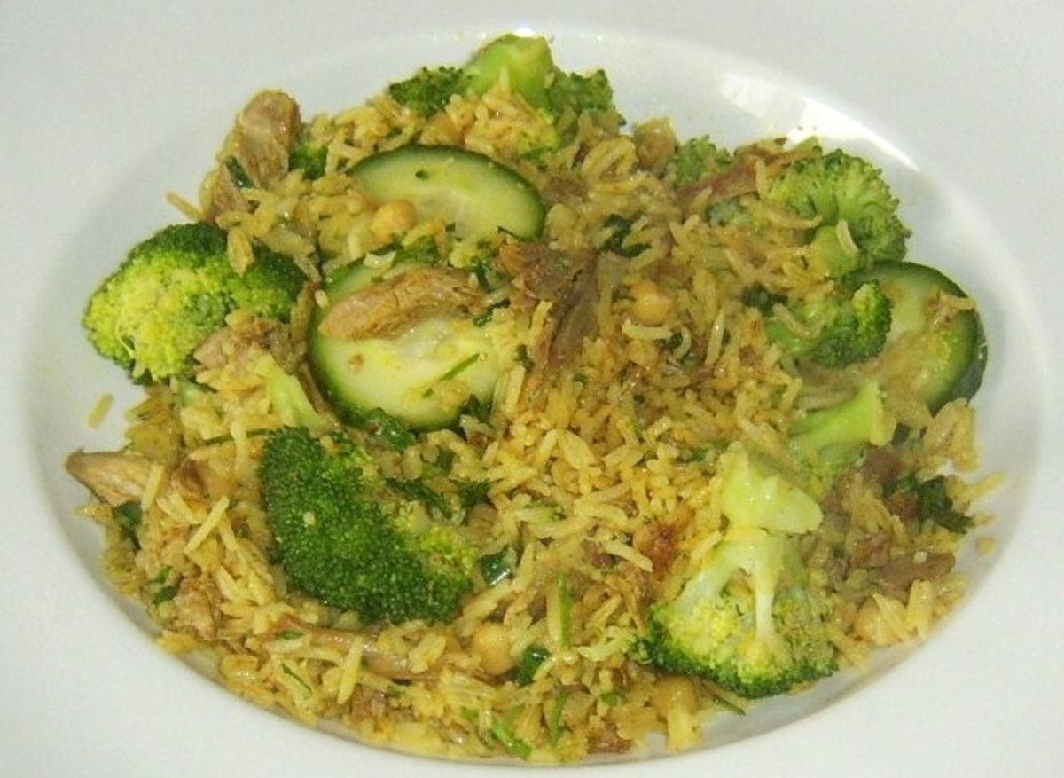 Duck leg biryani prepared with steamed rather than stir fried duck