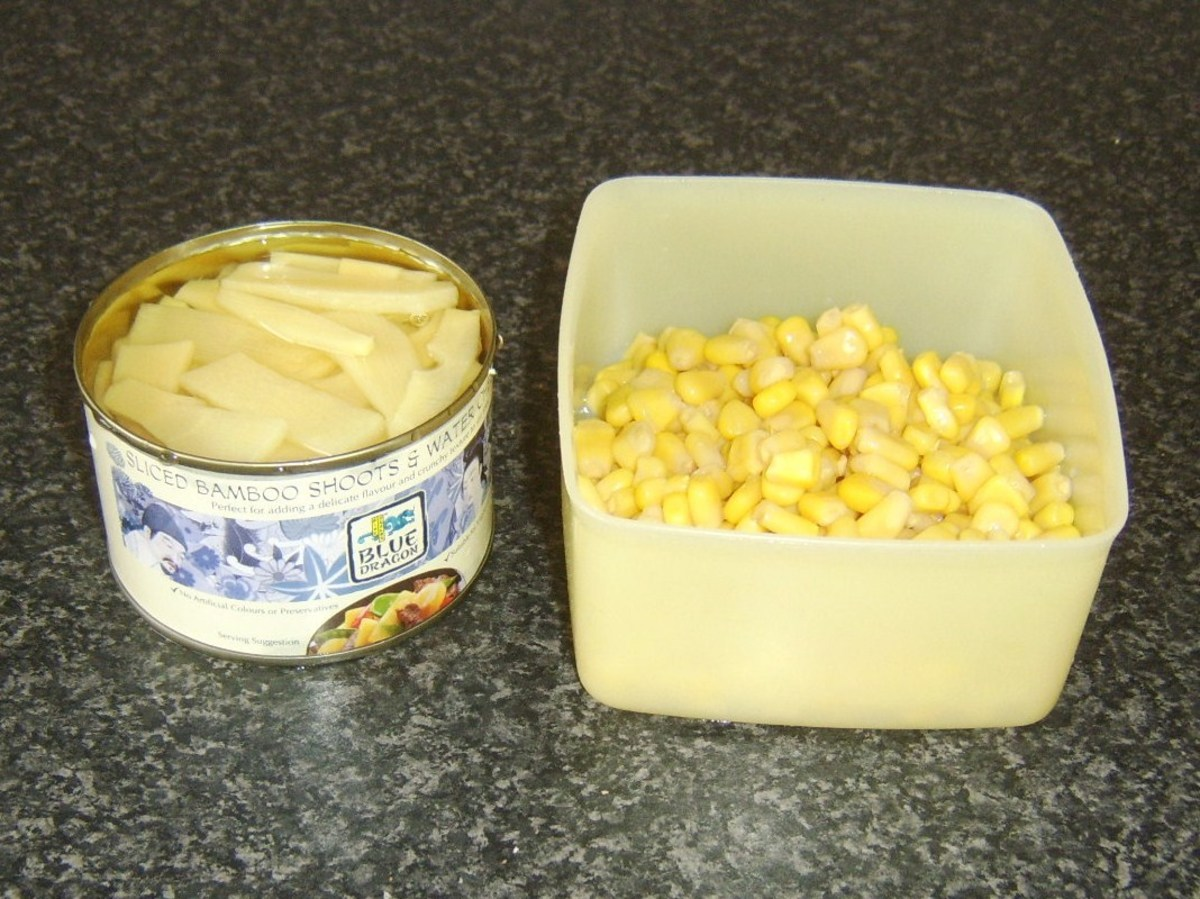Bamboo shoots, water chestnuts and sweetcorn