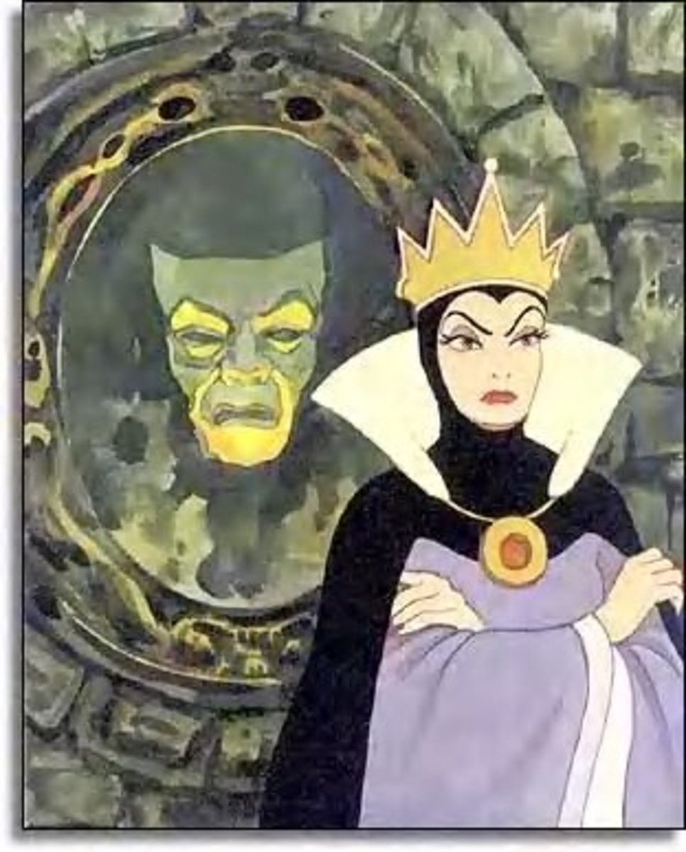 """Magic mirror in my hand, who is the fairest in the land?"" The mirror replies: ""My queen, you are the fairest here so true. But Snow White beyond the mountains at the seven dwarfs is a thousand times more beautiful than you."""