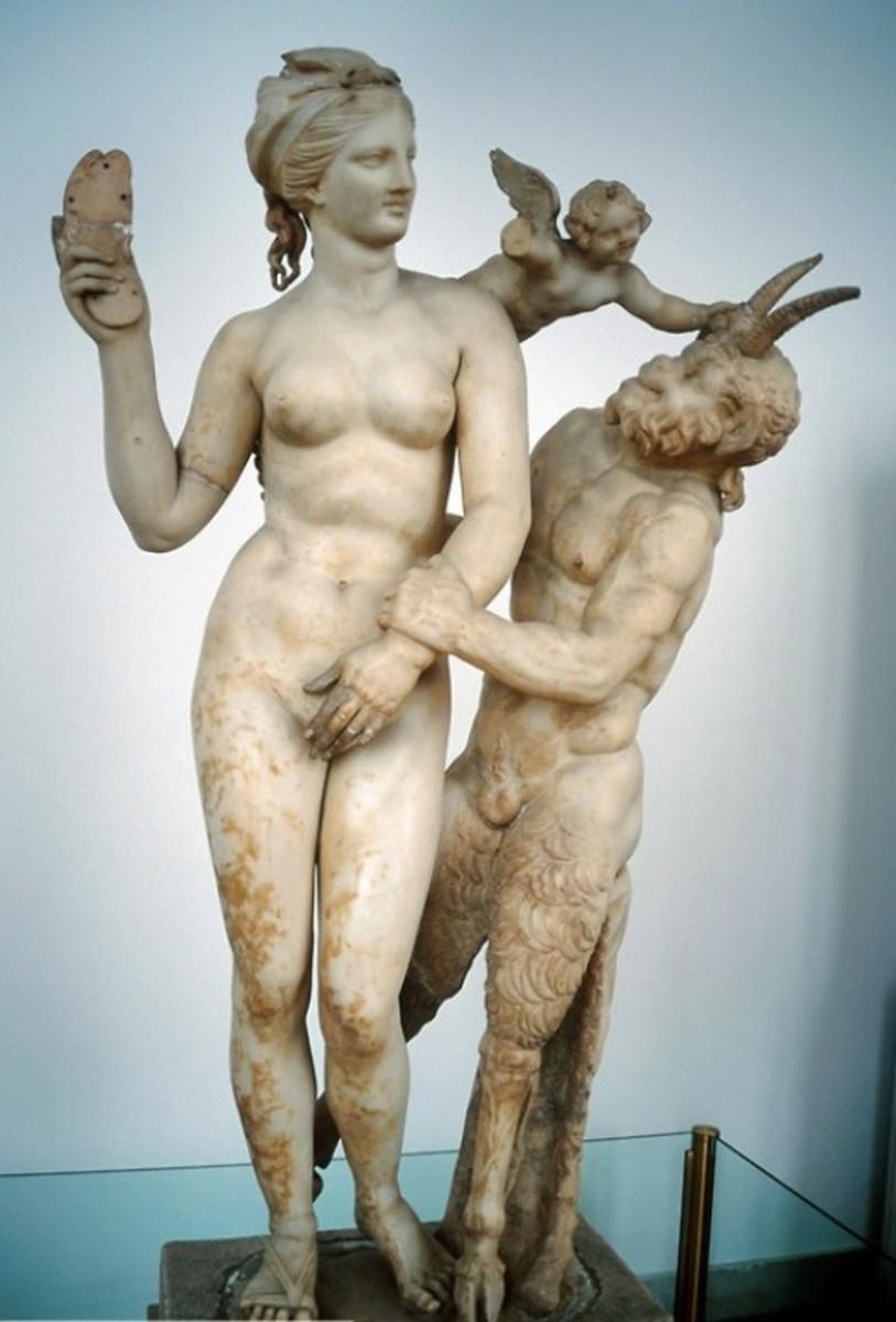 Grecian Statue of Aphrodite, Eros, and Pan –  circa 100 BCE