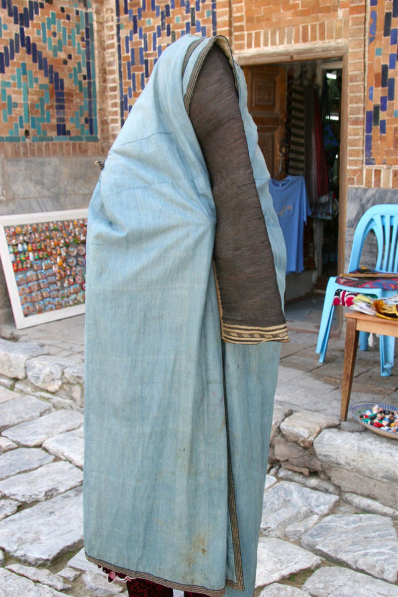 Woman in Uzbekistan wearing a paranja