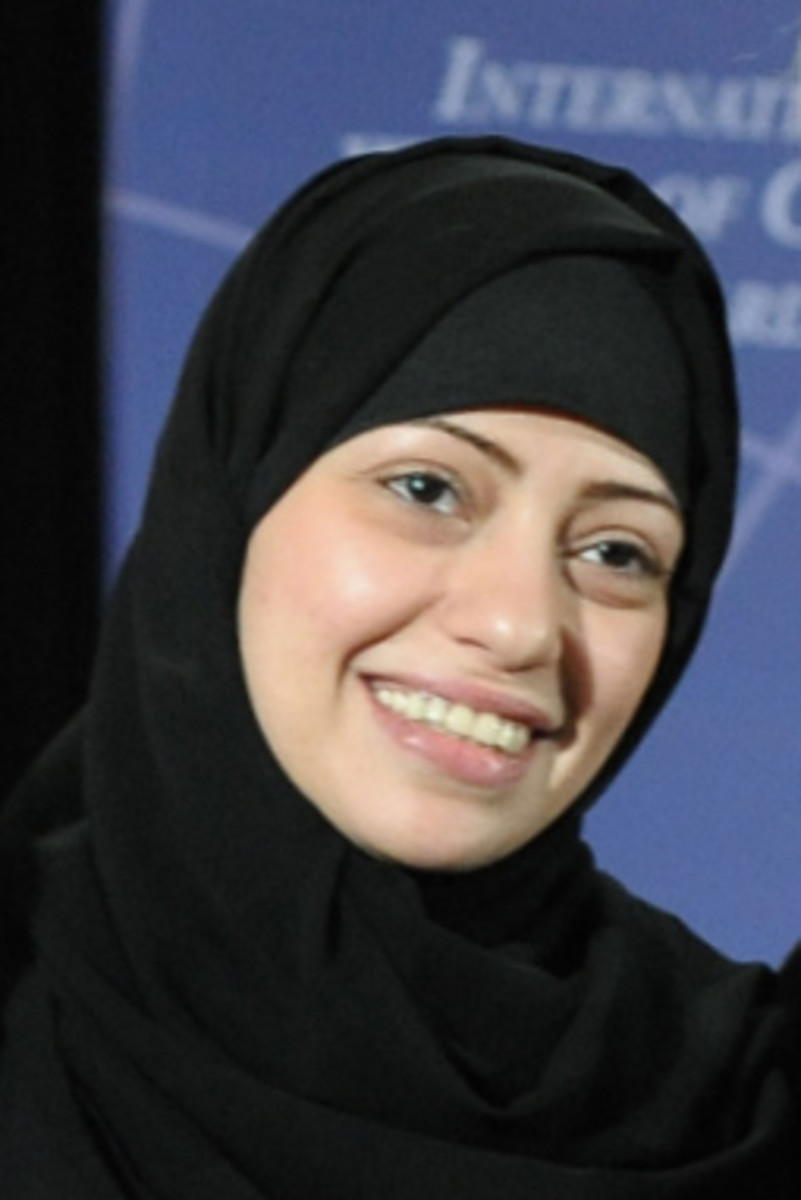 Samar Badawi, Saudi activist for human rights, in an ameera type covering most likely paired with an abaya type dress.