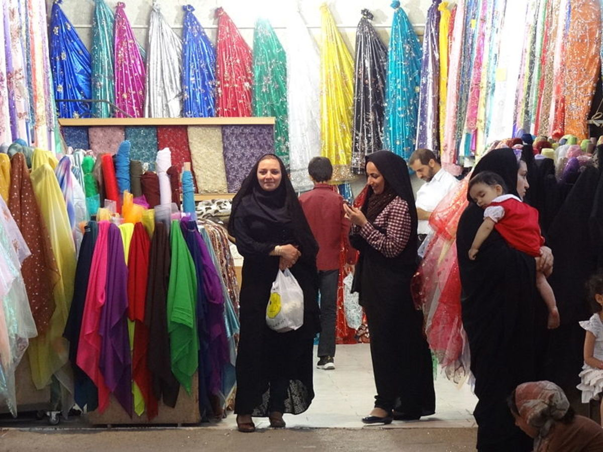 Iranian women at the Bazaar wearing their chadors