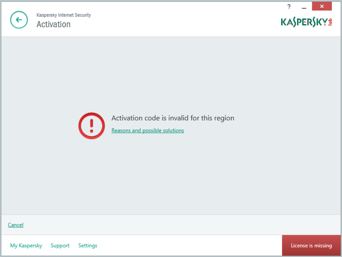 "When activating Kaspersky Anti-Virus, Kaspersky Internet Security, Kaspersky Total, you may receive the error message: ""Activation code is invalid for this region""."