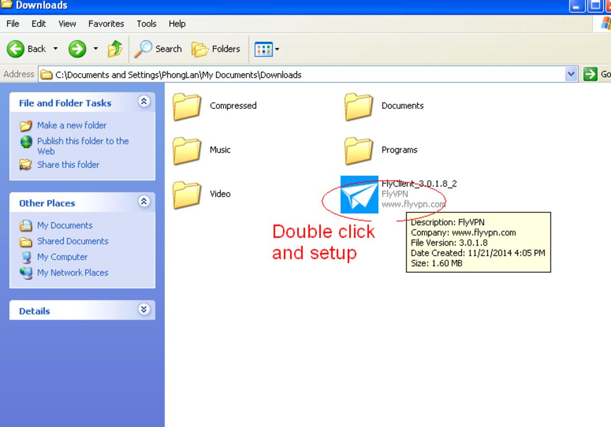 Install FlyVPN software