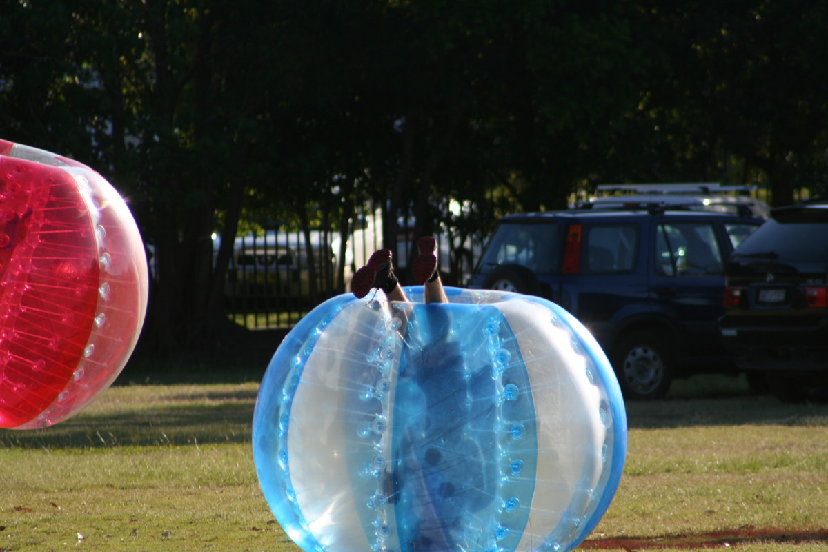 One of the tactics for slowing the opposition in a bubble soccer game is to strategically bump a player so they roll and get stuck upside down. lol.