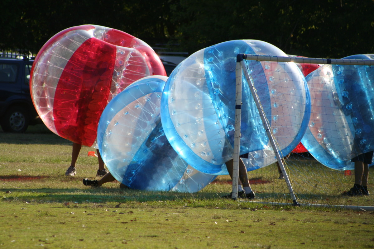 You don't have to come pelting at full speed to knock another bubble football player to the ground.  It can be quite difficult to retain your footing when being jostled.