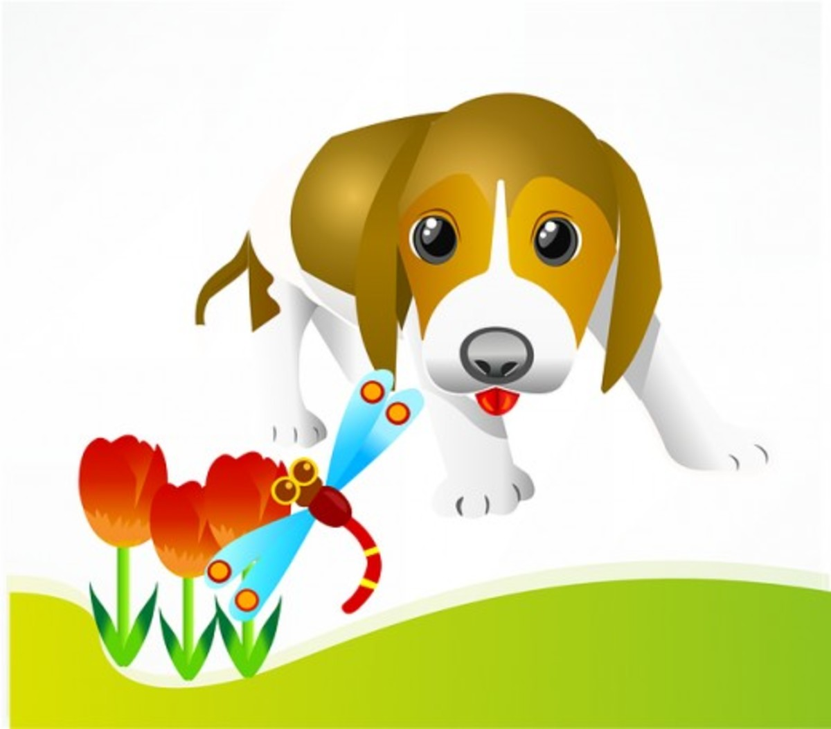 Puppy with Tulips and Dragonfly