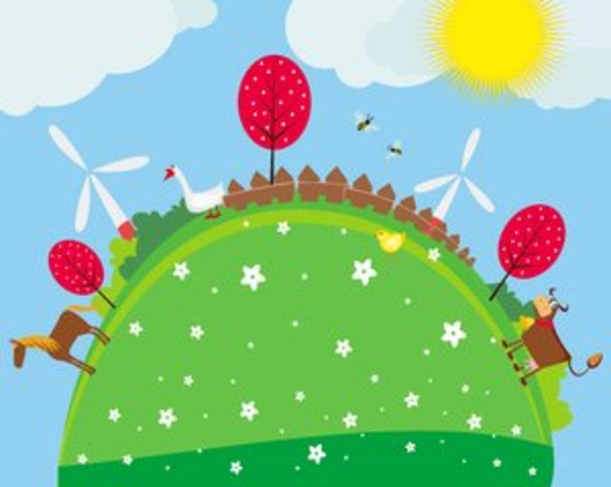 Spring Trees, Flowers, Windmills, Animals and Bees