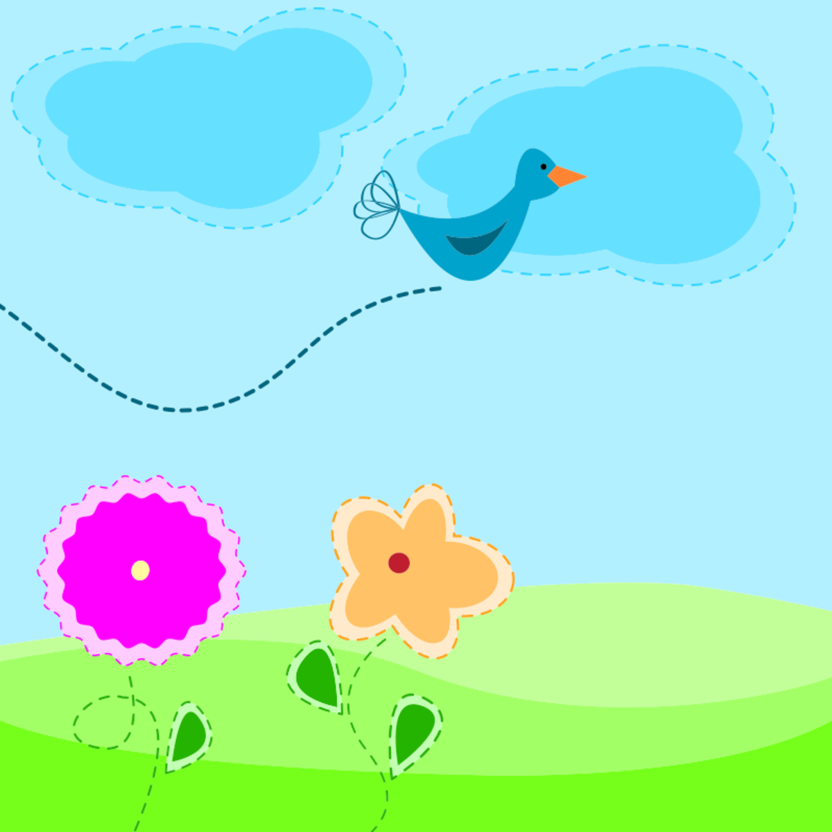 Flowers and Bird Flying in Blue Sky