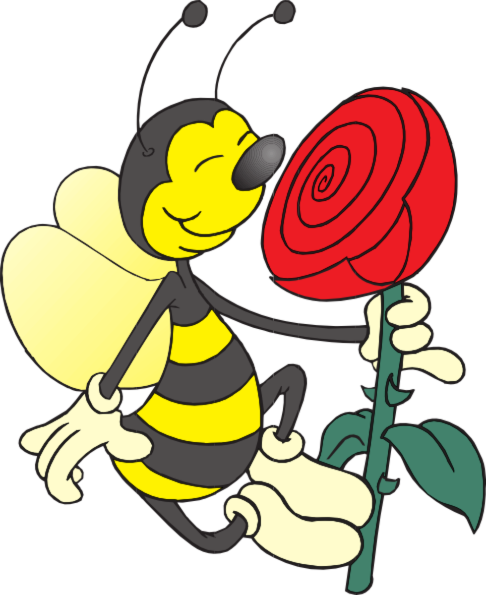 Cartoon Bee Smelling a Rose