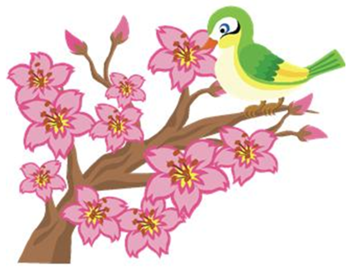 Green and Yellow Bird in Blossoming Cherry Tree
