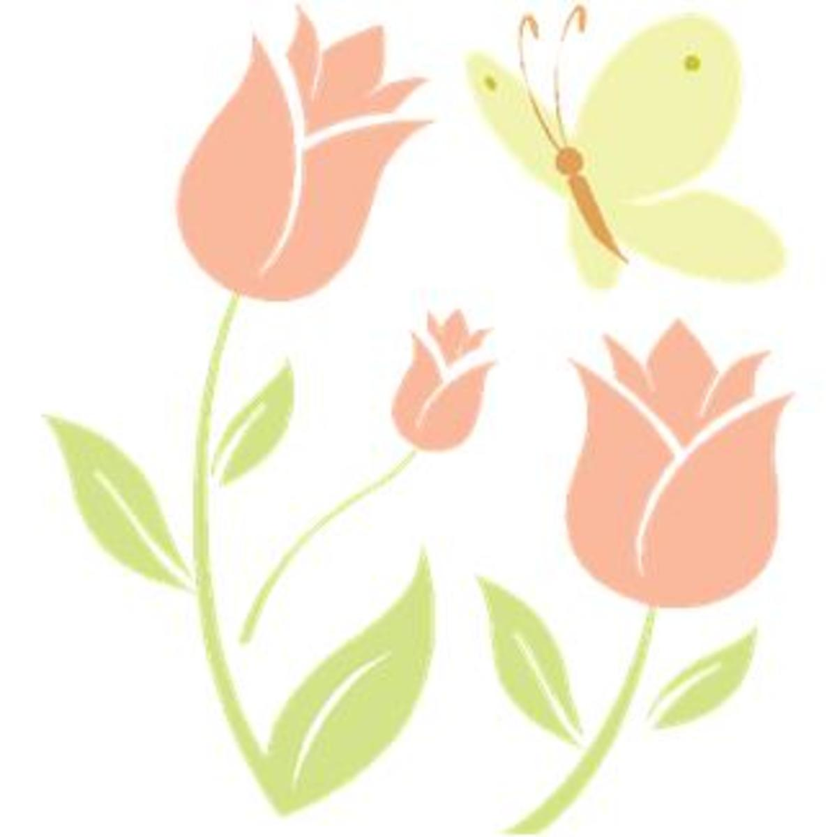 Yellow Butterfly and Pink Tulips