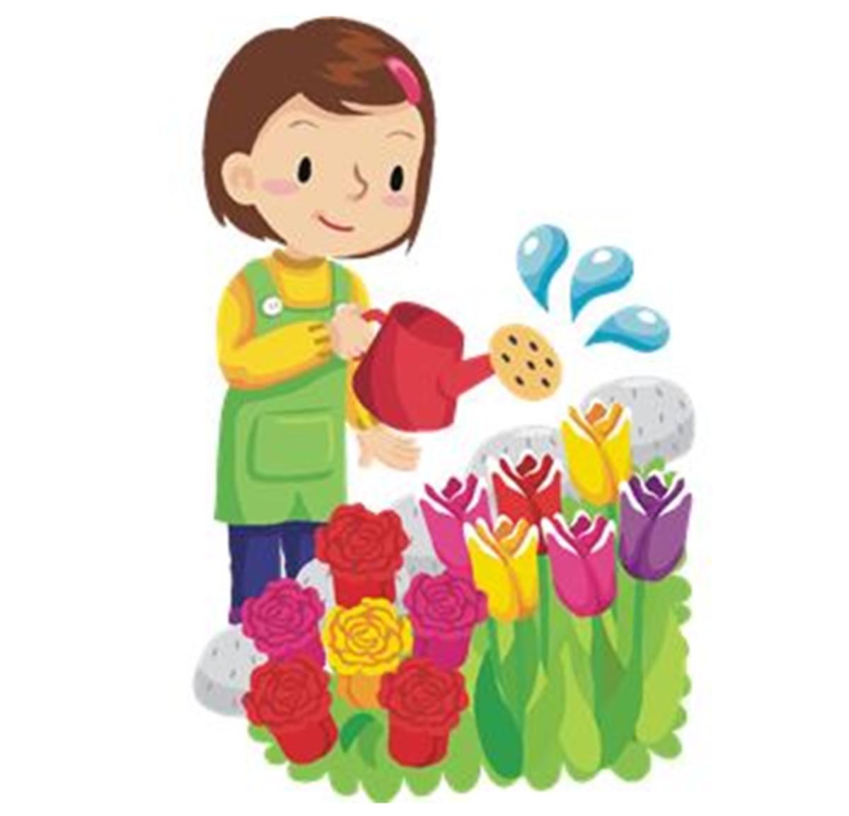Girl Watering Tulips
